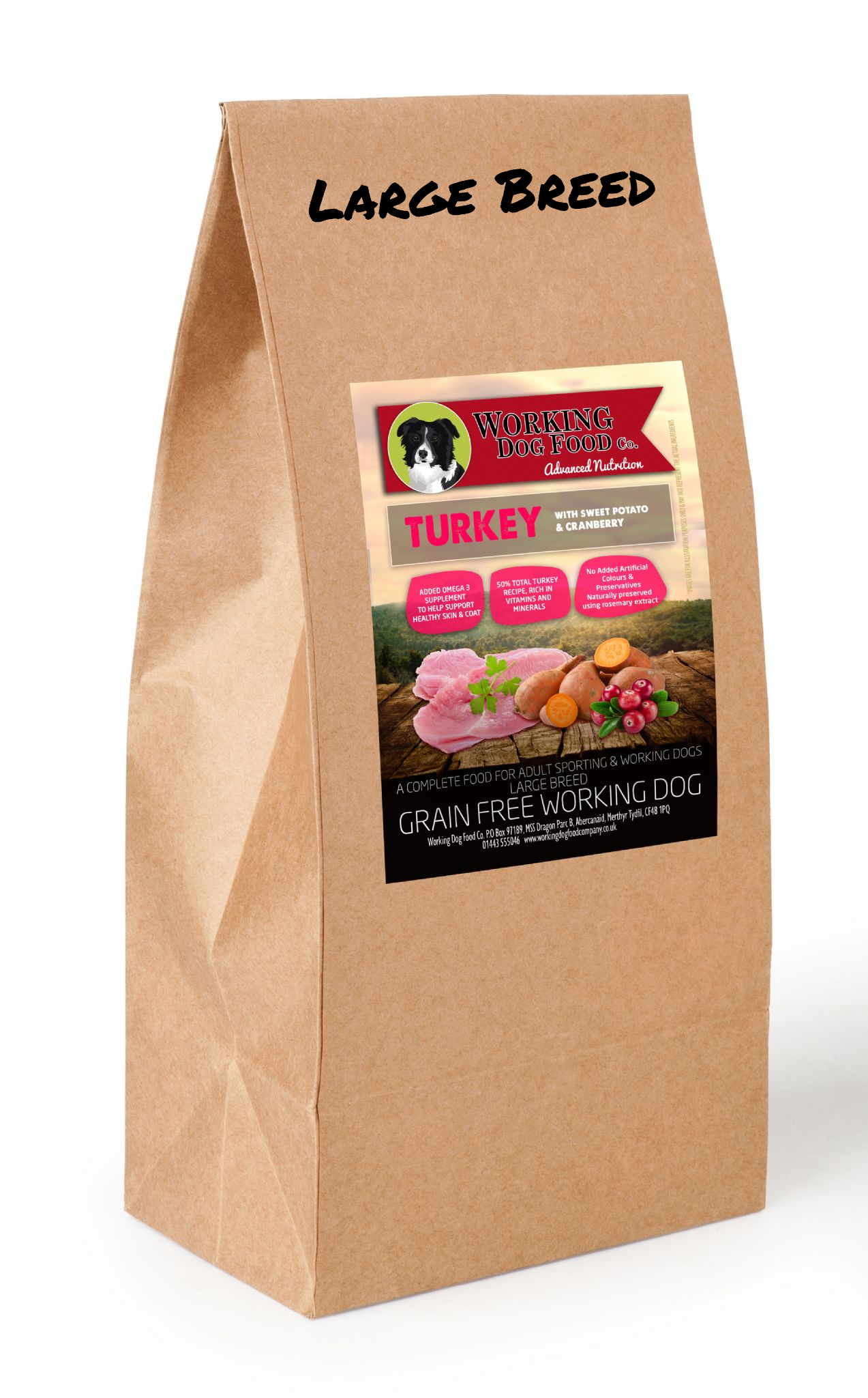 Grain Free Large Breed Working Dog Food Turkey With Sweet Potato & Cranberry