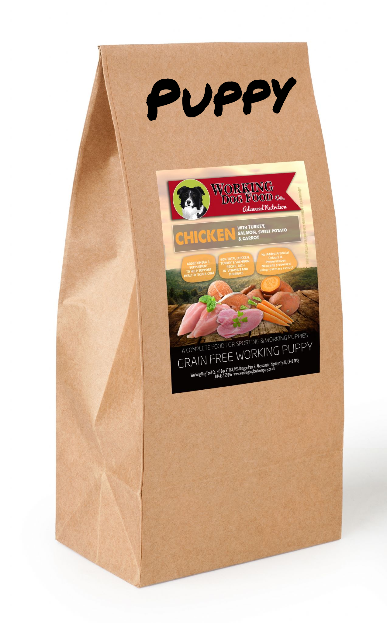Grain Free PUPPY Working Dog Food Chicken With Sweet Potato, Carrots & Peas